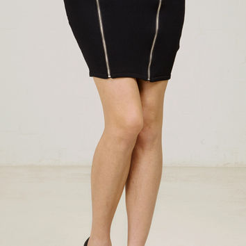 Edgy Zipper Bandage Skirt