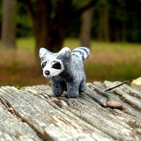 CIJ SALE Raccoon Miniature - Polymer Clay Raccoon - Tiny Raccoon - Raccoon Totem CHRISTMAS In July