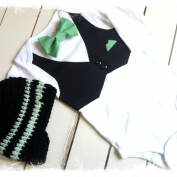 Boys Bow Tie Vest Set with Beanie - Bow Tie Snap Bottom with Black Vest-Boys Wedding Apparel-Baby Boys Tuxedo -Tux-Applique Bodysuit
