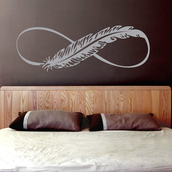 Feather Infinity Vinyl Decal (Interior & Exterior Available)  Feather Wall Decal, Large Vinyl Wall, Infinity Symbol, Bedroom Decor