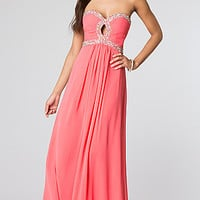 Long Strapless Prom Gown with Corset Top