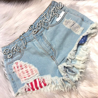 Frayed Denim American Shorts