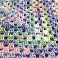 Spun Sugar Stripe Crochet Baby Afghan Blanket Throw
