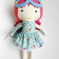 Superhero girl doll for super girls with strawberry print, superhero birthday gift doll with superhero girl costume, can be personalized