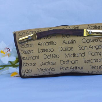 Vintage  70's Texas Cities Canvas Clutch Purse.