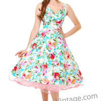 Stop Staring Aqua Watercolor Sweet Dreams Floral Print Swing Dress - Unique Vintage - Bridesmaid & Wedding Dresses