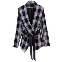 Buy Elegant Check V-Collar Lapel Lace-Up Tweed Coat Black with cheapest price|wholesale-dress.net