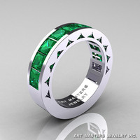 Mens Modern 14K White Gold Princess Emerald Channel Cluster Sun Wedding Ring R274-14WGEM