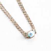 Antique Rosy Yellow Gold Filled Blue Enamel Flower Slide Charm Necklace - Edwardian Long Layered Pocket Watch Chain Jewelry