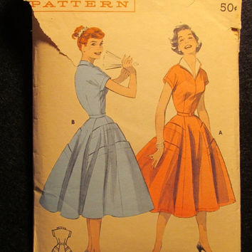 Sale 1950's Butterick Sewing Pattern, 7348! Size 16 Bust 34 Small/Med/women's/Misses/Fitted Bodice/Faced Sleeves/Stand up Collar/Full Flared