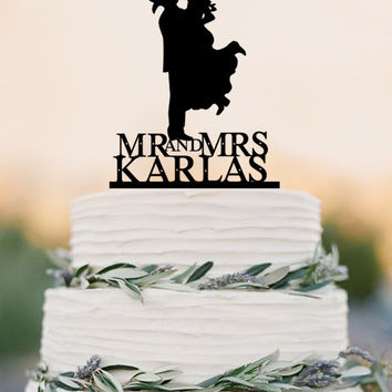 Country Western Wedding Cake Topper Silhouette Cowboy with Hat both wearing boots, personalized with name-Choice of Acrylic