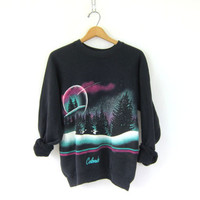 vintage black Colorado ski sweatshirt. Mountain nature grunge Hipster. Winter snow Trees Urban street style