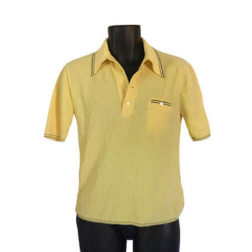Men 70s Shirt Yellow Shirt Preppy Shirt 1970s Clothing 70s Clothes Retro Clothes Short Sleeve Shirt 70s Clothing Short Sleeve Sweater