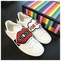 Gucci Fashion Women Casual Embroidered Low Help Shoe Sneaker I
