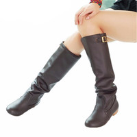 Women Boots Fashion Knee High Riding Shoes Chunky Low Heels