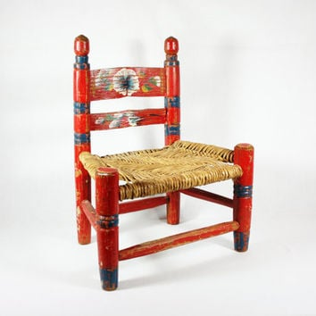 Vintage Mexican Folk Art Child's Chair Handmade Hand Painted Etsy Treasury Item