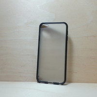 ipod touch 5 Case Silicone Bumper and Translucent Frosted Hard Plastic Back - Black