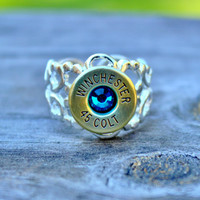 Winchester Bullet Ring - 45 Long Colt - Brass Ox - HEAVY DUTY - Blue Zircon Crystal - Ammo Jewelry