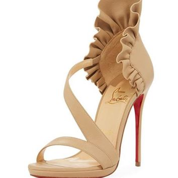 Christian Louboutin COLANKLE 120 Ruffle Platform Sandals Heels Pumps Shoes $1045