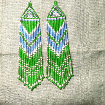Native American  Beaded Earrings  Inspired. White Blue Green Earrings. Dangle  Earrings.Long Earrings.  Beadwork.