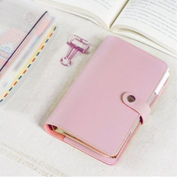 Macaroon Personal Organizer Leather Business Ring Office Binder Notebook Cute Kawaii Agenda Planner 2018 Travel Journal A5 A6 A7