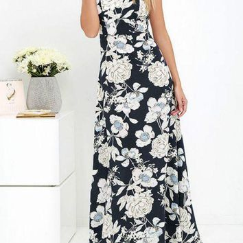 C| Chicloth Summer Halter Neck Floral Print Sleeveless Women's Maxi Dress