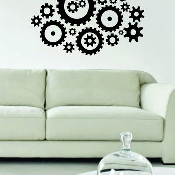 Gears Version 3 Machine Steampunk Design Decal Sticker Wall Vinyl Decor Art
