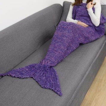 PURPLE MERMAID TAIL SOLID CROCHET BLANKET SIZES TODDLER CHILD ADULT