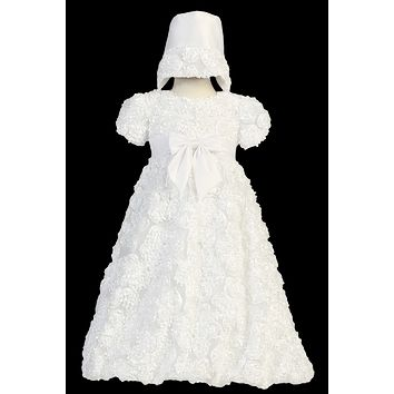 Satin Ribbon Flowers from Head to Toe on a White Tulle Christening Gown (Baby Girls Newborn - 18 months)