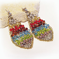 Rainbow Earrings Beaded Long Statement Earrings Crochet Wire Earrings Israeli