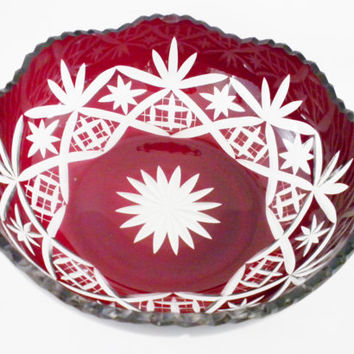 Red Crystal Bowl, Vintage Czech / Bohemian Cut Crystal, Decorative Bowl, Cranberry Crystal Bowl