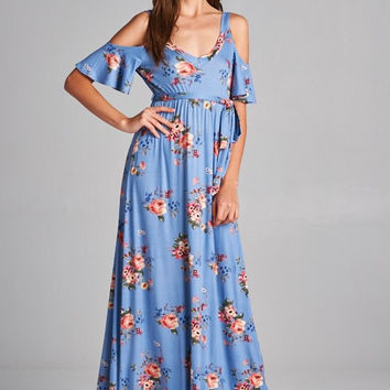 Boho Cold Shoulder Maxi Dress - Chambray