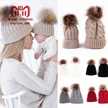 2PCS set Family Hat Infant Winter Knit Crochet Caps Faux Fur Beanie Hat Mother Daughter Son Baby Boy Girl skullies ski Cap