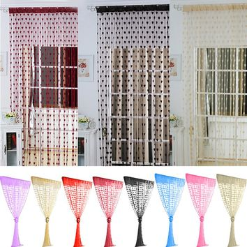 New Fashion Lovely Heart Decor Window Living Room Line Curtain String Tassel Door Divider String Curtains 100CM*200CM#233755