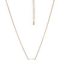 FOREVER 21 Faux Pearl Drop Necklace Cream/Gold One