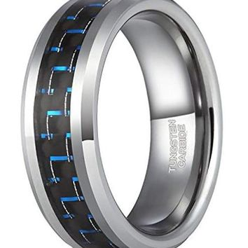 CERTIFIED 8mm Mens Tungsten Rings Wedding Band Black and Blue Carbon Fiber Inlay