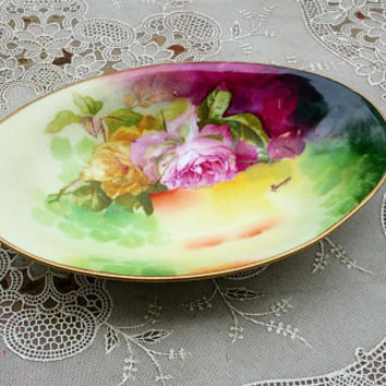 Antique 1910 Limoges Coronet Hand Painted  Roses Vanity Dish Signed Rancor