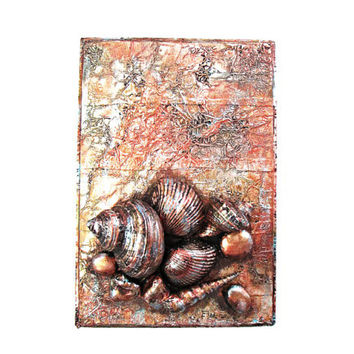 Sea Shell Art Collage nautical decor in copper faux finish shell cluster original 3d mixed media painting nautical wall art