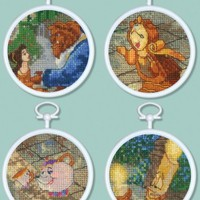 MCG Textiles Beauty and the Beast Mini Vignette Counted Cross Stitch Kit, Set of 4