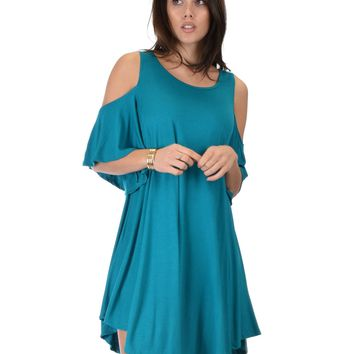 Lyss Loo Sun Kissed Cold Shoulder Draped Teal Tunic Dress