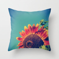 Summer Sunflower Throw Pillow by Olivia Joy StClaire