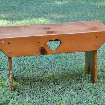 Vintage Wooden Bench Seat Heat Cutout Country Farmhouse Decor Handmade Panchosporch