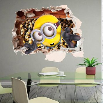 Cartoon Despicable Me 2 Minions 3D Wall Sticker for Kids Room Living Room Removable Decoration Diy Pvc Decals Children Gift