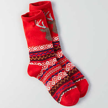 AEO Deer Crew Sock , Red