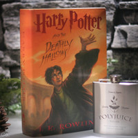 Hollow Book Safe and 6oz Polyjuice, Felix Felicis, or Veritiserum Flask inspired by Harry Potter - Harry Potter and The Deathly Hallows