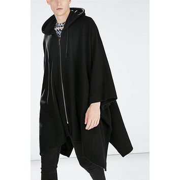 2017 Japan Harajuku Fashion Wool Cloak Cape Long Black Hooded Trench Coat Men Windbreaker Overcoat Gothic British Style Outwear