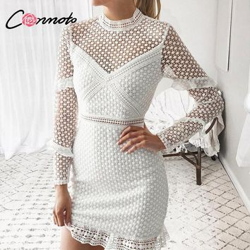 Conmoto Hollow Out Double Layer Dress Long Sleeves White Lace Dress Women 2018 Autumn Casual Sexy Embroidery Dress Vestidos