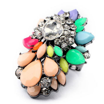 Multi Color Rhinestone Cluster Ring