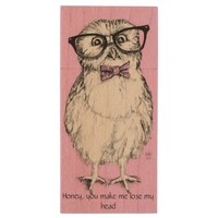 Nerdy owlet pink background