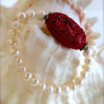 Beautiful Freshwater Pearl with Carved Cinnabar Focal Bead